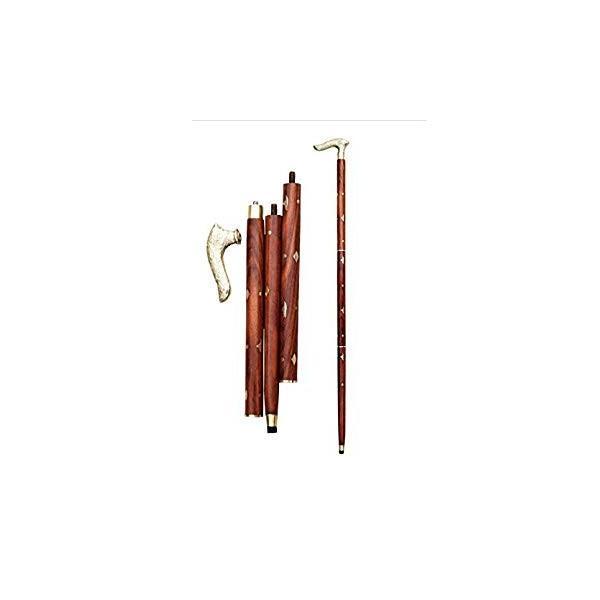 送料無料 WhopperIndia Handmade Folding Walking Cane/Rule with Round Brass Tip (|sonanoa|05