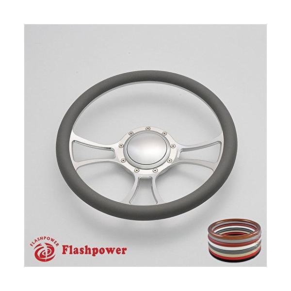 Flashpower 14 Billet Half Wrap 9 Bolts Steering Wheel with 2 Dish and Horn Button Dark Grey
