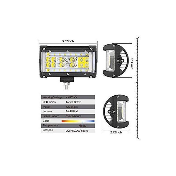 Side Shooter LED Lights AutoPowerPlus 2pcs 5 inch 120W LED Pods Off Road Driving Fog Light Waterproof LED Cubes Spot Flood Combo Work Lights for Truck Jeep ATV UTV Pickup Boat