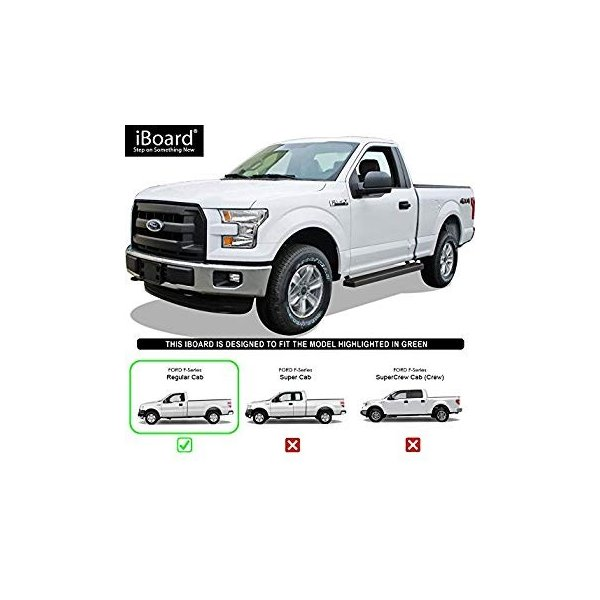APS Premium 4 Black iBoard Running Boards Fit 15-19 Ford F150 SuperCrew Cab 17-19 F250