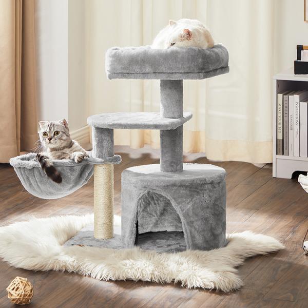 FEANDREAキャットタワー子猫やシニア猫にお勧め省スペース爪とぎ高さ68cmNPCT59W