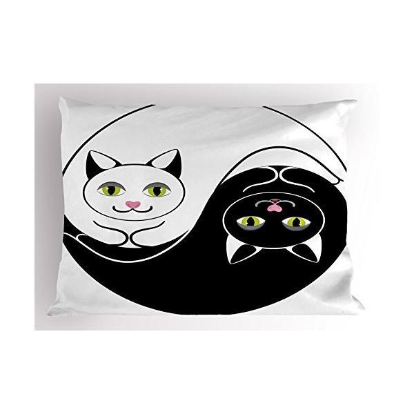 Ying Yang Pillow Sham by lunarable、ブラックとホワイトだっこ猫でアジア陰陽フォームハーモニーとバランス子猫、装飾標準