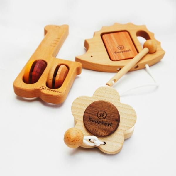 木のおもちゃ 赤ちゃん  幼児楽器おもちゃ3個セット  ベビー  1歳 2歳 知育玩具 リズム遊び 音の鳴るおもちゃ 誕生日 ギフト スプソリ|soopsori|03
