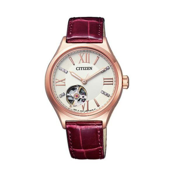 シチズン CITIZEN コレクション メカニカル 自動巻 ピンクゴールド ワニ革 レディース腕時計 PC1002-00A (長期保証5年付)