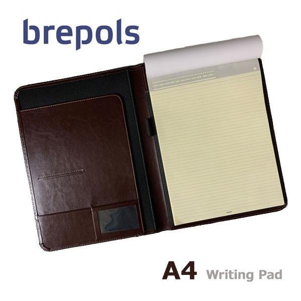 BREPOLS ブレポルス パレルモ ライティングパッド A4 ダークブラウン レポートパッドホルダー レポートカバー