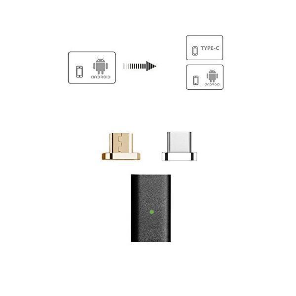Micro USB&Type-Cアダプタ 3本(黒)Yeebok第5世代Micro USB&Type-C 2in1-マグネット充電・データ転|sorachip3