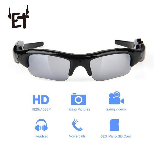 ET 広角 サングラス カメラ ミニ 眼鏡 DV DVR ビデオレコーダー 屋外 スポーツ ビデオカメラ サポート TF