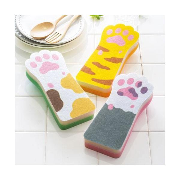 販促品 ノベルティ 底まで洗える!猫の手ロングスポンジ  安価/まとめ売りに!