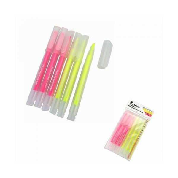 販促品 ノベルティ 蛍光ペン2色×3本セット  安価 見積もりに