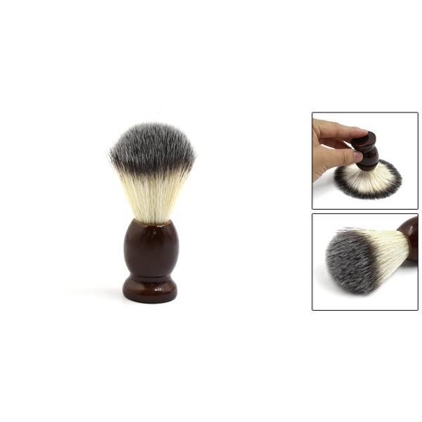 uxcell シェービングブラシ サロン 理容ツール メンズ 木製ハンドル ひげ剃り ダークブラウン|soten2|02