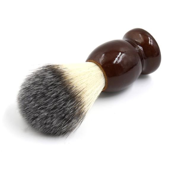 uxcell シェービングブラシ サロン 理容ツール メンズ 木製ハンドル ひげ剃り ダークブラウン|soten2|03