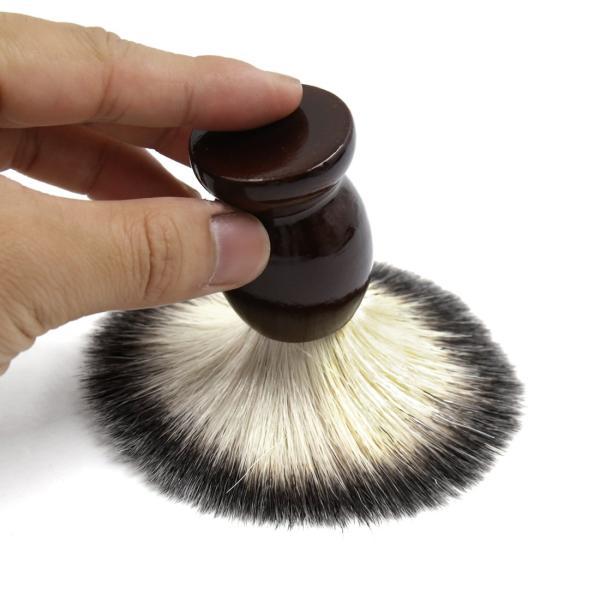 uxcell シェービングブラシ サロン 理容ツール メンズ 木製ハンドル ひげ剃り ダークブラウン|soten2|05