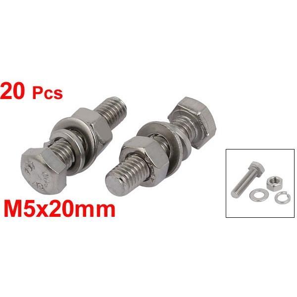 uxcell 六角ボルトキット M5x20mm ナットとワッシャー付き 304ステンレススチール 20個入り|soten|02