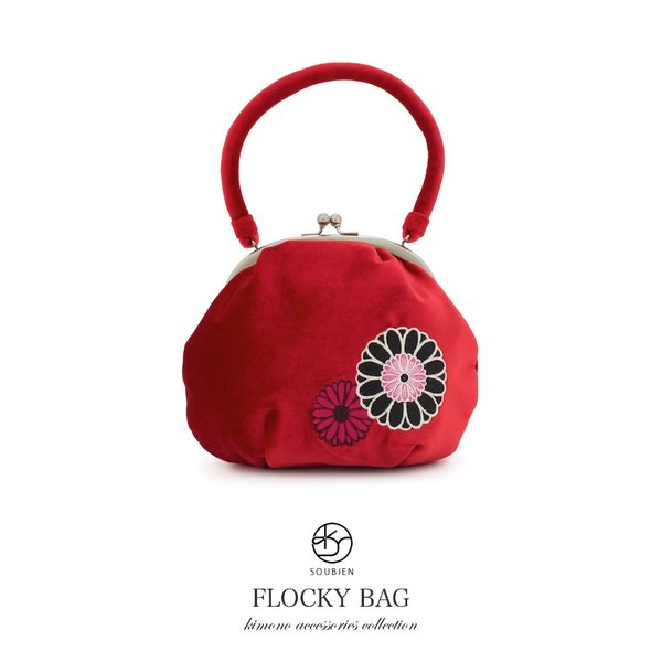 バッグ 赤 レッド 黒 ブラック 菊 ガーベラ 花 刺繍 ベルベット調 日本製 和洋兼用 がま口 七才 7才 7歳 七五三 成人式 卒業式 結婚式 送料無料