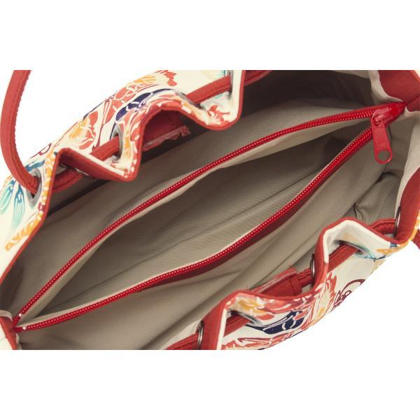 バッグ カジュアル用 栗山吉三郎謹製 白系 アイボリー 赤 百合水仙 花 蝶 正絹 ラメ 和染紅型 紅型染 和洋兼用 かばん 鞄 バック 日本製 送料無料