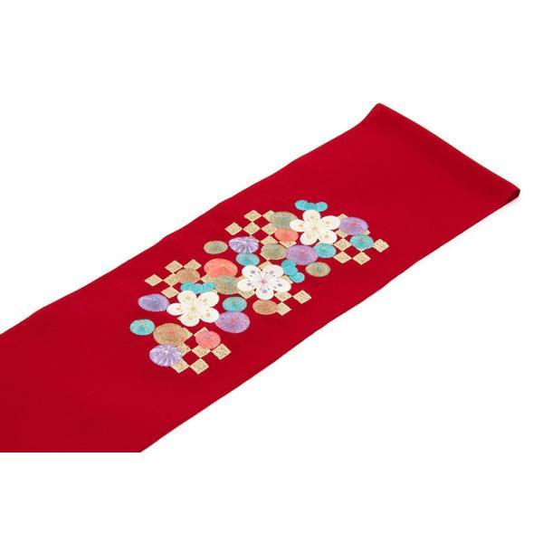 半衿 赤 レッド 梅 鞠 市松格子 刺繍 縮緬 ちりめん 振袖向け 成人式 結婚式 フォーマル 半襟 はんえり 和装小物 女性 レディース 日本製 送料無料