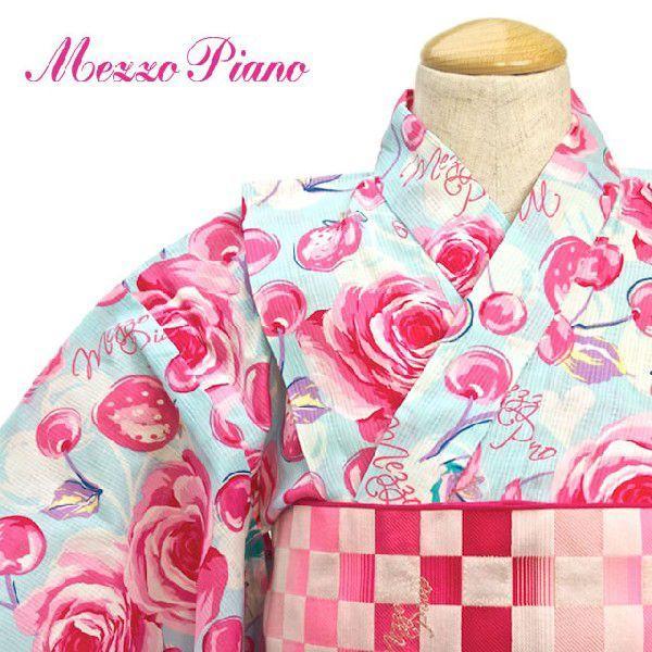 浴衣 子供 キッズ 単品 Mezzo Piano 水色 薔薇 バラ ローズ 花 変わり織り こども 女児 女の子 ガールズ|soubien