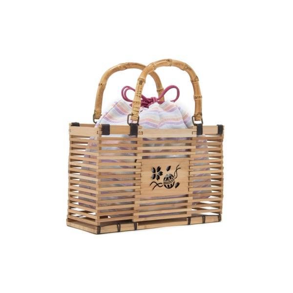 かごバッグ 創美苑オリジナル 紫 橙 カラフル 茶色 ブラウン ナチュラル 麻 縞 ボーダー 透かし彫りカゴ巾着バッグ 竹籠 浴衣向け 送料無料