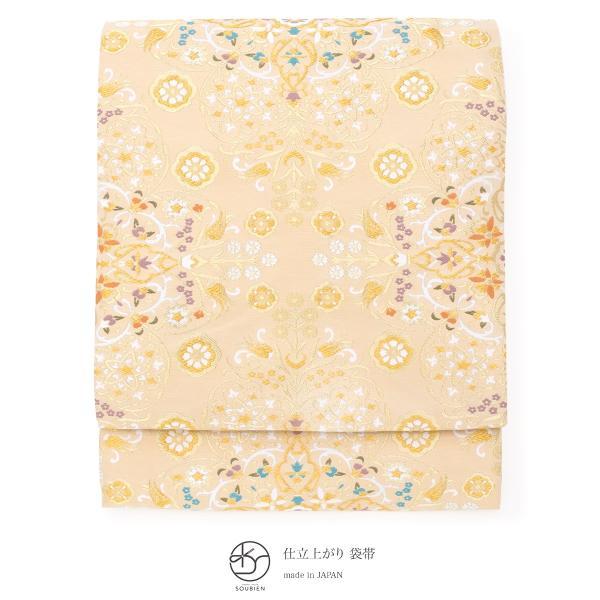 袋帯 フォーマル 訪問着用 付け下げ 色無地 小杉織物謹製 ベージュ 金色 花唐草 エキゾチック 全通柄 仕立て上がり 日本製 送料無料|soubien