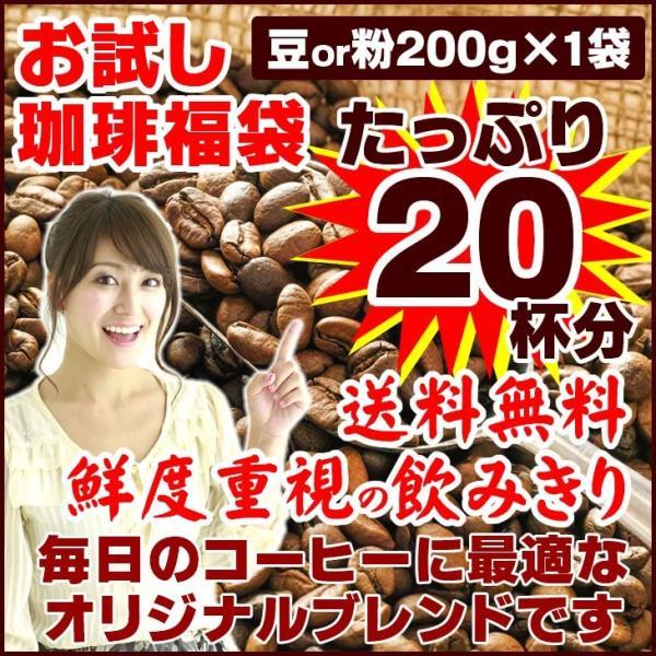 コーヒー豆 オリジナルブレンド 珈琲 選べる 豆 中挽き 粉  20杯分 お試し 福袋 200g ポイント消化 送料無料|sougous