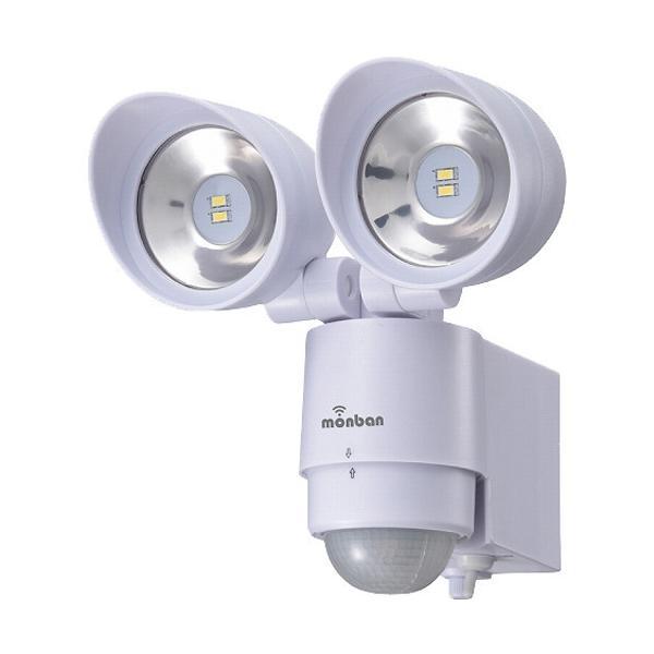 monban LEDセンサーライト 乾電池式 2灯 LS-BH22F4-W ( 1個 )/ OHM