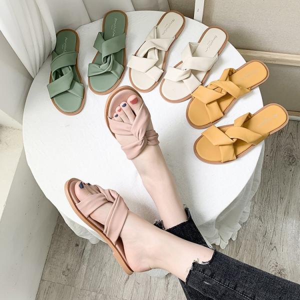 サンダルレディース靴シューズおしゃれスリッパフラットぺたんこ可愛いリゾート歩きやすいエレガンス美足