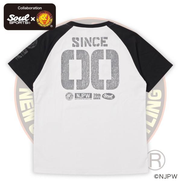 新日本プロレス×SOUL SPORTSコラボ 20th記念ラグラン半袖Tシャツ ブラック×ホワイト 2019新作|soul-sports|05