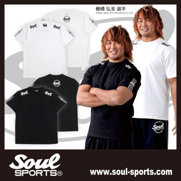 SOUL SPORTSオリジナル 袖テープロゴプリント半袖Tシャツ ブラック/ホワイト 2019新作 soul-sports