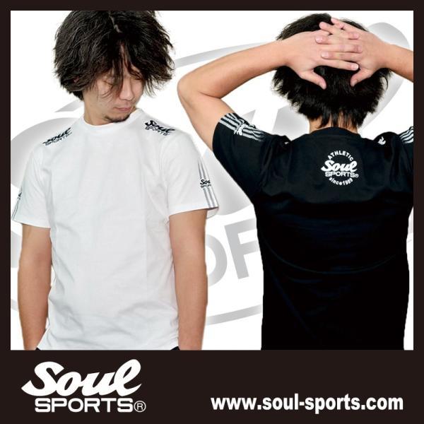 SOUL SPORTSオリジナル 袖テープロゴプリント半袖Tシャツ ブラック/ホワイト 2019新作 soul-sports 14
