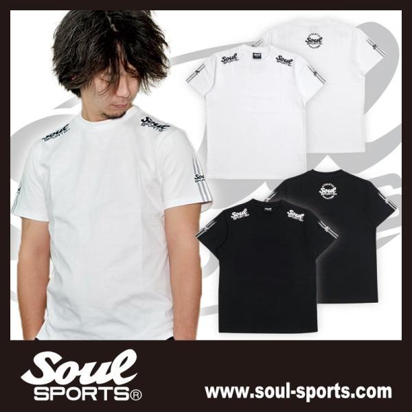SOUL SPORTSオリジナル 袖テープロゴプリント半袖Tシャツ ブラック/ホワイト 2019新作 soul-sports 15