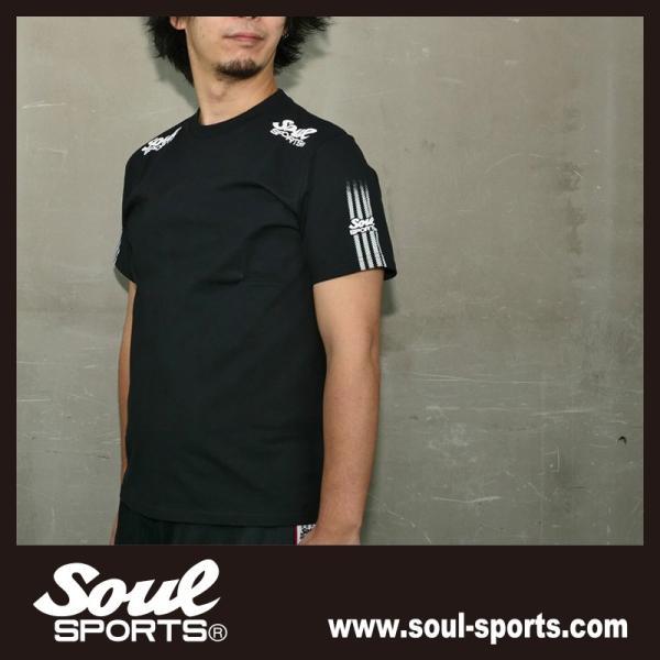 SOUL SPORTSオリジナル 袖テープロゴプリント半袖Tシャツ ブラック/ホワイト 2019新作 soul-sports 09