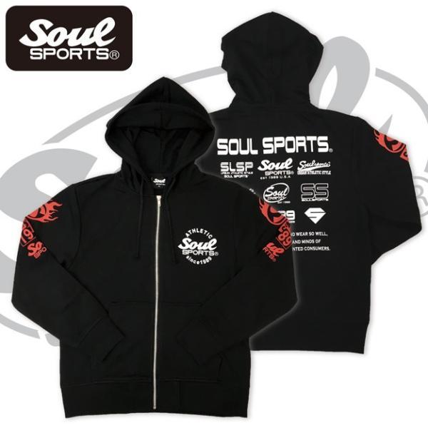 SOUL SPORTSオリジナル 集合ロゴジップパーカ ブラック 2018新作|soul-sports|03