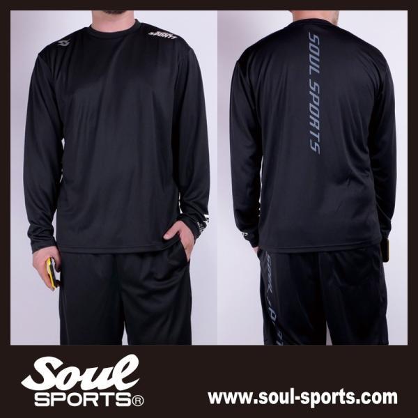 SOUL SPORTSオリジナル 「S」マーク反射ロゴ 長袖ドライTシャツ ブラック 2019新作|soul-sports|08
