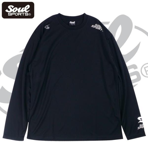 SOUL SPORTSオリジナル 「S」マーク反射ロゴ 長袖ドライTシャツ ブラック 2019新作|soul-sports|03
