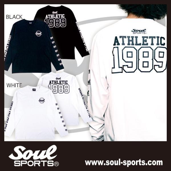 【SOUL SPORTS オリジナル】ナンバリングATHLETICロゴ 長袖Tシャツ コットン100% ホワイト/ブラック 2019新作|soul-sports