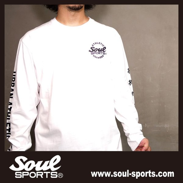 【SOUL SPORTS オリジナル】ナンバリングATHLETICロゴ 長袖Tシャツ コットン100% ホワイト/ブラック 2019新作|soul-sports|13
