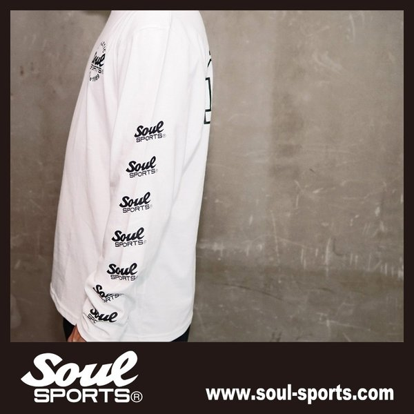 【SOUL SPORTS オリジナル】ナンバリングATHLETICロゴ 長袖Tシャツ コットン100% ホワイト/ブラック 2019新作|soul-sports|14