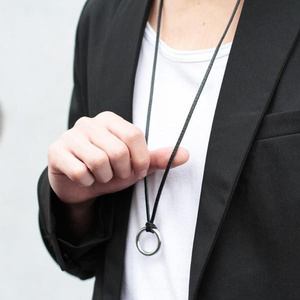 日本製 レザー コード リング ネックレス ネックレス・ペンダント 男女兼用アクセサリー ジュエリー・アクセサリー メンズファッション|soyous|06