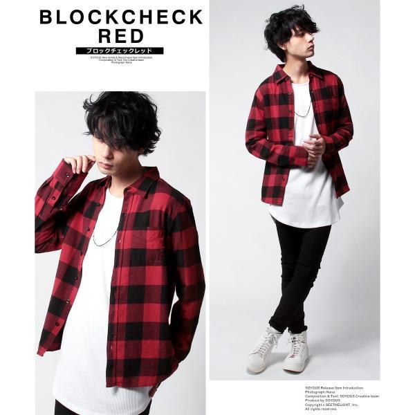 チェックシャツ メンズ ネルシャツ 長袖 フランネル|soyous|03