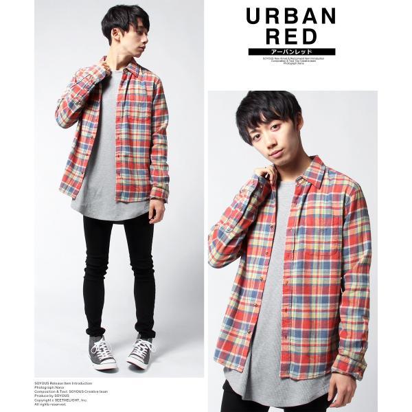 チェックシャツ メンズ ネルシャツ 長袖 フランネル|soyous|04