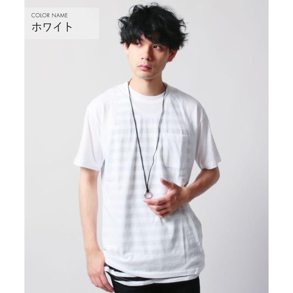 クルーネック 半袖 Tシャツ ボーダー ロング丈 ビックシルエット タンクトップ アンサンブル SET メンズ|soyous|03