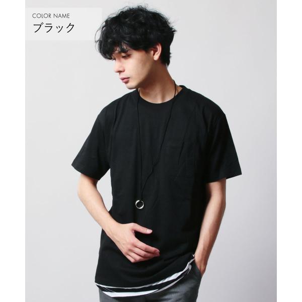 クルーネック 半袖 Tシャツ ボーダー ロング丈 ビックシルエット タンクトップ アンサンブル SET メンズ|soyous|04