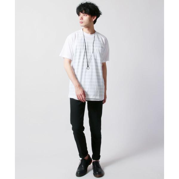 クルーネック 半袖 Tシャツ ボーダー ロング丈 ビックシルエット タンクトップ アンサンブル SET メンズ|soyous|06