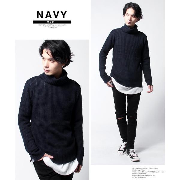 タートル ネック ラーベン編み ニット メンズ|soyous|03