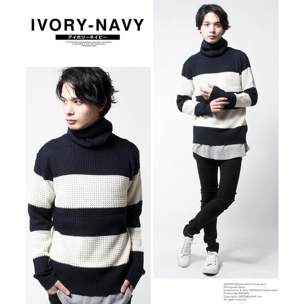 タートル ネック ラーベン編み ニット メンズ|soyous|05