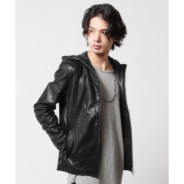 パーカー メンズ ジャケット メンズ PUレザー ライダース ラムタッチ PU ジャケット メンズ|soyous|03