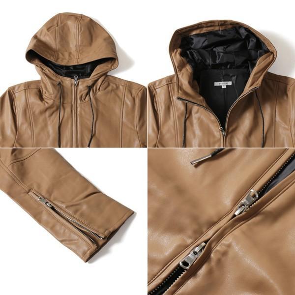 パーカー メンズ ジャケット メンズ PUレザー ライダース ラムタッチ PU ジャケット メンズ|soyous|04