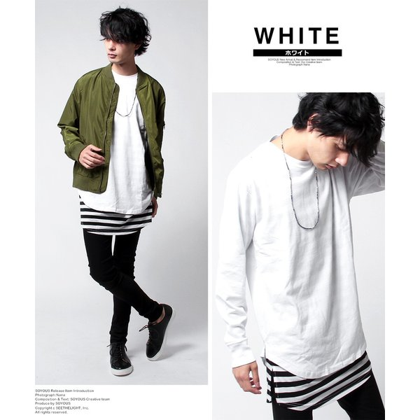 カットソー メンズ ロング丈 スリット Tシャツ ボーダー 無地 長袖 半袖 アンサンブル セット|soyous|02