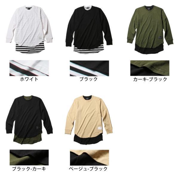 カットソー メンズ ロング丈 スリット Tシャツ ボーダー 無地 長袖 半袖 アンサンブル セット|soyous|06