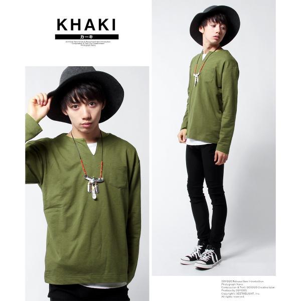 キーネック Tシャツ カットソー メンズ アンサンブル 7030インレイ|soyous|03